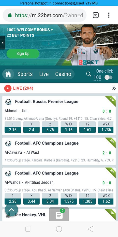 22bet mobile version