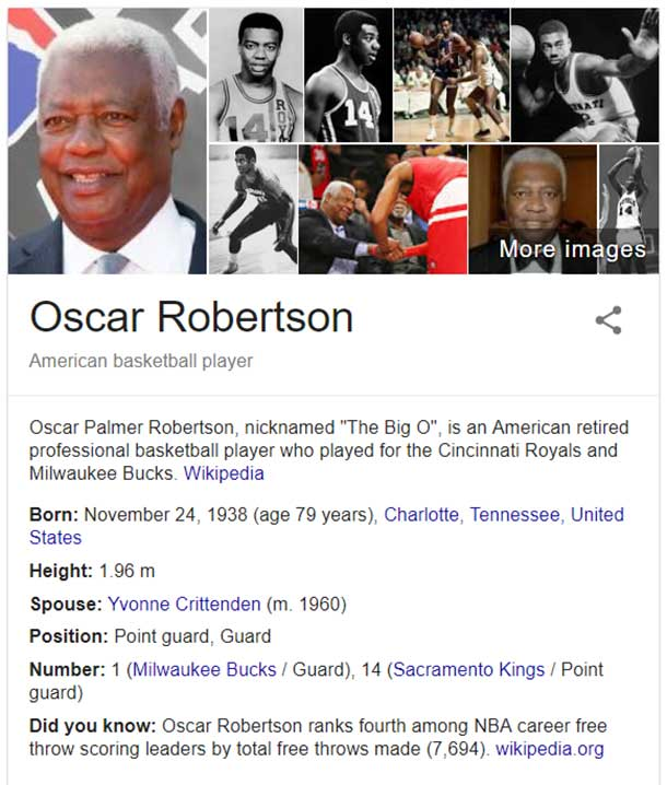 NCAA legends Oscar Robertson